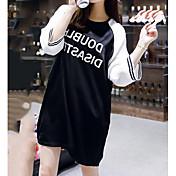 Mujer Simple Bonito Noche Casual/Diario Verano Camiseta,Escote Redondo Bloques Letra Manga Corta Algodón Fino