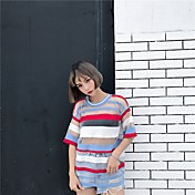 Mujer Bonito Casual/Diario Camiseta,Escote Redondo A Rayas Bloques Manga 3/4 Poliéster