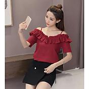 Mujer Simple Casual/Diario Camiseta,Con Tirantes Un Color Manga Corta Algodón