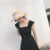 Mujer Simple Casual/Diario Camiseta,Escote Cuadrado Un Color Manga Corta Algodón Otro