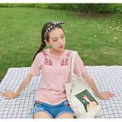 Mujer Simple Casual/Diario Verano Camiseta,Escote Redondo Un Color Floral Manga Corta Algodón