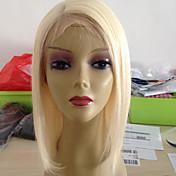 Mujer Pelucas de Cabello Natural Remy Encaje Completo 130% Densidad Liso Peluca Blonde Corto Medio Entradas Naturales Para mujeres de