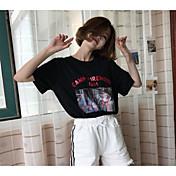 Mujer Activo Noche Camiseta,Escote Redondo Estampado Manga Corta Algodón