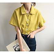 Mujer Simple Casual/Diario Camisa,Cuello Camisero Un Color Manga Corta Algodón