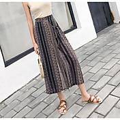Mujer Sencillo Tiro Alto Microelástico Chinos Pantalones,Corte Ancho Estampado