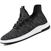 Hombre Zapatillas de deporte Confort Punto Primavera Otoño Casual Paseo Con Cordón Tacón Plano Negro Beige Gris Plano