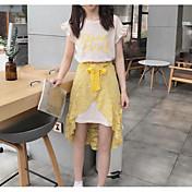 Mujer Simple Casual/Diario Verano T-Shirt Falda Trajes,Escote Redondo Refranes y citas Sin Mangas