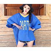 Mujer Simple Casual/Diario Camiseta,Escote en Pico Un Color Letra Media Manga Algodón