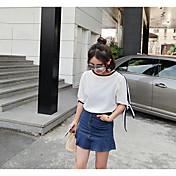 Mujer Simple Casual/Diario Blusa,Escote Redondo Un Color Manga 3/4 Poliéster