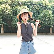 Mujer Sexy Deportes Noche Camiseta,Escote Redondo Un Color Manga Corta Seda