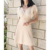 Mujer Línea A Vestido Casual/Diario Un Color Escote en Pico Hasta la Rodilla Manga Corta Poliéster Verano Tiro Alto Microelástico Medio