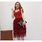 Mujer Vaina Vestido Noche Casual/Diario Bloques Con Tirantes Midi Sin Mangas Poliéster Verano Tiro Medio Microelástico Fino