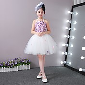 Princesa short / mini vestido de niña de flor - de encaje de satén de encaje tulle sin mangas con applique