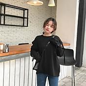 Mujer Sudadera Casual/Diario Simple Un Color Escote Redondo Microelástico Algodón Manga Larga Primavera