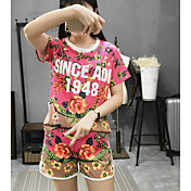 Mujer Simple Casual/Diario Verano T-Shirt Pantalón Trajes,Escote Redondo Floral Manga Corta