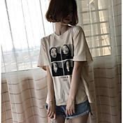 Mujer Simple Noche Camiseta,Escote Redondo Un Color Estampado Manga Corta Algodón