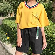 Mujer Simple Casual/Diario Camiseta,Escote en Pico Bloques Manga Corta Algodón