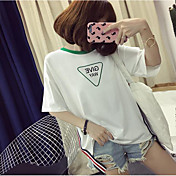 Mujer Simple Casual/Diario Verano Camiseta,Escote Redondo Geométrico Letra Manga Corta Algodón