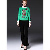 Mujer Chic de Calle Tiro Medio Microelástico Chinos Pantalones,Perneras anchas Un Color