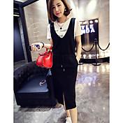 Mujer Simple Casual/Diario Verano T-Shirt Falda Trajes,Escote Redondo Negro y Blanco Manga Corta