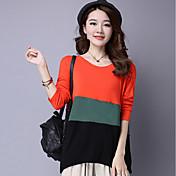 Mujer Sofisticado Casual/Diario Camiseta,Escote Redondo Bloques Manga Larga Algodón