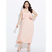 Mujer Vaina Vestido Trabajo Un Color Escote Redondo Sobre la rodilla Sin Mangas Algodón Primavera Tiro Medio Microelástico Medio