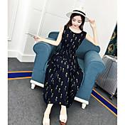 Mujer Línea A Corte Ancho Vestido Casual/Diario Floral Escote Redondo Maxi Sin Mangas Poliéster Verano Tiro Alto Rígido Medio