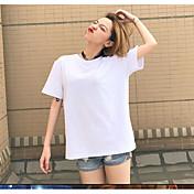 レディース お出かけ 夏 Tシャツ,キュート ラウンドネック ソリッド プリント コットン 半袖 スモーキー
