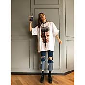 Mujer Vintage Noche Camiseta,Escote Redondo Un Color Manga Corta Algodón Acrílico
