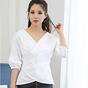 Mujer Simple Casual/Diario Camisa,Escote en Pico Un Color Manga Corta Algodón Lino