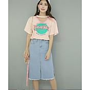 Mujer Activo Noche Verano T-Shirt Falda Trajes,Escote en Pico Letra y Número Media Manga