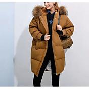 Dámské Dlouhé Dlouhý kabát Sexy Jednoduché Roztomilé Běžné/Denní Práce Jdeme ven Jednobarevné Tisk-Kabát Bavlna Akryl PolyesterPrachové