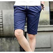 Hombre Sencillo Tiro Medio Microelástico Shorts Pantalones,Delgado Bloques
