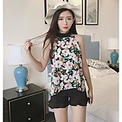 Mujer Simple Casual/Diario Blusa,Escote Redondo Floral Sin Mangas Poliéster