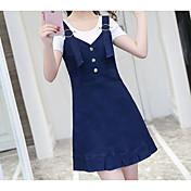 Mujer Bonito Activo Casual/Diario Verano T-Shirt Falda Trajes,Escote Redondo Un Color A Rayas Manga Corta Microelástico