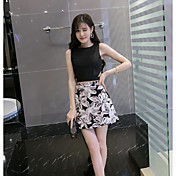 Mujer Simple Casual/Diario Verano T-Shirt Falda Trajes,Escote Redondo Floral Sin Mangas