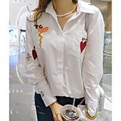 Mujer Simple Casual/Diario Camisa,Cuello Camisero A Rayas Estampado Manga Larga Algodón Otro