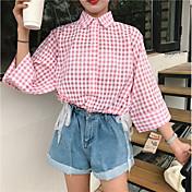 Mujer Simple Casual/Diario Camisa,Cuello Camisero Estampado Manga 3/4 Otro