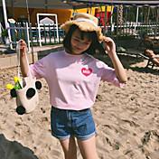 Mujer Simple Fiesta Camiseta,Escote Redondo Un Color Manga Corta Algodón