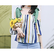 Mujer Simple Casual/Diario Camisa,Con Tirantes A Rayas Sin Mangas Algodón Lino