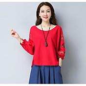 Mujer Simple Casual/Diario Camiseta,Escote Redondo Floral Estampado Manga 3/4 Algodón Otro