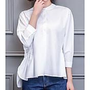 Mujer Simple Casual/Diario Camisa,Escote Chino Un Color Manga 3/4 Algodón Otro