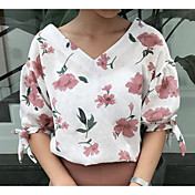 Mujer Simple Casual/Diario Camisa,Escote en Pico Estampado Manga Corta Nailon Otro