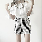 Mujer Simple Casual/Diario Verano T-Shirt Pantalón Trajes,Escote Barco Ajedrez Manga Corta