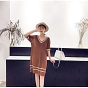 Mujer Largo Pullover Casual/Diario Un Color Escote en Pico Manga Corta Algodón Lino Primavera Otoño Medio Microelástico