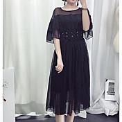 Mujer Línea A Vaina Vestido Noche Casual/Diario Sexy Bonito,Un Color Escote Redondo Sobre la rodilla Manga Larga Nailon Licra Primavera