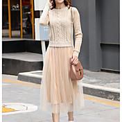 Mujer Línea A Vaina Vestido Noche Casual/Diario Simple Bonito,Un Color Escote Redondo Midi Manga Larga Algodón Acrílico Poliéster