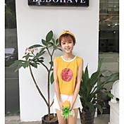 Mujer Simple Casual/Diario Tank Tops,Escote Redondo Estampado Manga Corta Algodón
