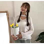 Mujer Regular Pullover Casual/Diario Un Color Escote en Pico Manga Larga Otro Otoño Medio Microelástico