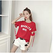 Mujer Verano T-Shirt Pantalón Trajes,Escote Redondo Letra Manga Corta Inelástica